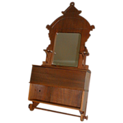 Walnut Shaving Mirror with Storage Box & Towel Bar