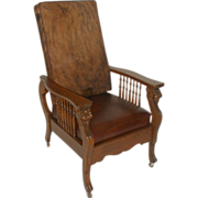 REDUCED Morris Chair with Lions Heads and Hairy Cowhide / Leather