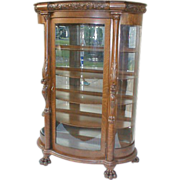 REDUCED Horner Oak China Cabinet with Curved Glass and Carving