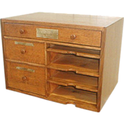 REDUCED Oak Desk Top Organizer by Carpenter Paper Co
