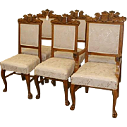 Set of 6 Oak Dining Chairs Upholstered