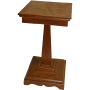 Oak Pedestal Plant Stand with Star Inlay in The Top