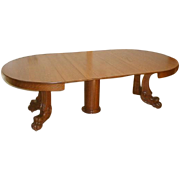 Oak Victorian Dining Table with 8 Leaves