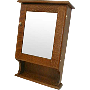 REDUCED Oak Medicine Cabinet with Beveled Mirror