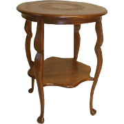 19th Century Round Oak Lamp Table