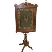 Victorian Walnut Fire Screen with Needlepoint Insert