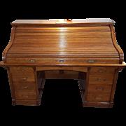 American Oak Large Roll Top Desk