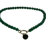 Beautiful chrysoprase necklace with pinchbeck and chrysoprase charm