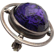 Antique art deco sterling silver and faceted amethyst domed broach fully hallmarked for Charle