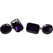 Gorgeous artisan vintage amethyst crystal and silver 925 cufflinks