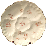SALE Beautiful Vintage Red Floral Oyster Plate with 5 Wells