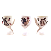 SALE Charming Porcelain Egg Cups - Set of 3