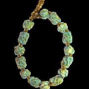 Fabulous Vintage Porcelain Necklace Turquoise-Colored Stones