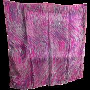 SALE Vivid Vera Vintage Pink and Purple Swirl Scarf - 100% Silk