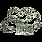"Native American Turquoise Belt Sterling Silver 31"" Vintage Unsigned 1260 U"