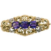 Birks Art Nouveau Amethyst Old Rose Diamond 14k Gold Pin Brooch