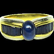 VF Sapphire Ring Platinum 18k Gold 2.0 Cts Vintage Cocktail Size 7.75 1331 V