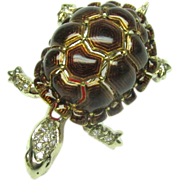 Enamel Turtle Pin Diamond Heavy 18k Gold Vintage Brooch Tortoise
