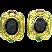 Intaglio Cameo Earrings Tourmaline Emerald Diamond 18k Gold Large Vintage 1385 C