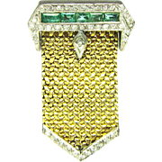 1940's Pin Brooch Epualet Diamond Emerald 18k Gold Sterling Military WWII 945 R
