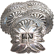 SOLD Conch Belt Buckle Sterling Silver 1940's Vintage Mexican Native American M 184