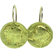 14k Yellow Gold Earrings Coin Lady Pierced Vintage Drop Dangle Dime NA 839