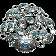 "Native American Turquoise Belt Sterling Silver 38.5"" Signed Vintage NA 912Q"