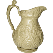 REDUCED Ridgway Jug Bacchus/Pan Relief Molded Stoneware Antique c.1830