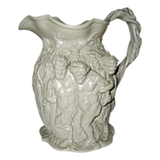 SALE Minton Jug Relief Molded Silenus/Bacchus, Antique c.1831