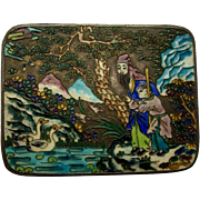 SALE Chinese Champleve Cloisonne Trinket Box, Figures, Birds, Flowers