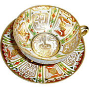 REDUCED Nippon Footed Cup Saucer, Raised Gold, Hand Painted