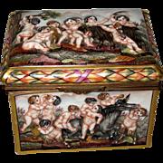 Capo Di Monte Porcelain Box with Cherubs