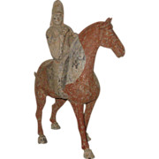 Superb Chinese Tang Dynasty Pottery Horse & Rider