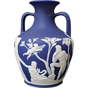 19th Century Wedgwood Jasperware Dark-Blue Double-Handled Portland Vase