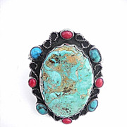 Vintage marked Sterling silver Turquoise and coral bracelet with rope design