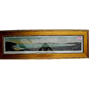 Antique 1908 Panoramic Photo-The Great White Fleet enters The Golden Gate CA.