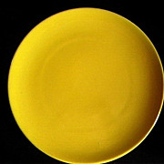 "Vintage Catalina Island red clay ""Charger"" rolled rim plate - bright yellow - 14"""
