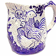 "Vintage Dedham Pottery "" Day & Night "" Blue & White Crackled Glazed Pitcher 1929"