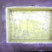 Vintage Barbara Willis rectangular yellow crackle ceramic flower floater bowl