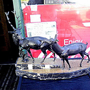 Spelter Bronze Statue-Buck and Doe on a marble base with Artist name