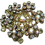 Juliana Sparkling Jonquil & AB Rhinestones Tiered Book Piece Pin / Brooch