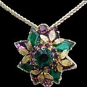Juliana Purple & Teal Diamond Shape Rhinestones & Metal Accent Pin / Brooch / Pendant