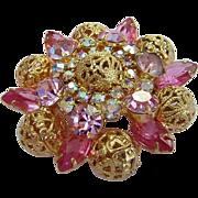 Juliana  Shades Of Pink Rhinestones & Filigree Balls Pin / Brooch Book Piece