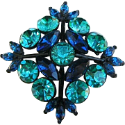 Weiss Dramatic Teal & Cobalt Rhinestones Japanned Pin / Brooch
