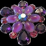 Captivating 2 Tone Glass + Purple & Pink Rhinestones Pin / Brooch