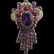 JULIANA Rarely Seen Stunning Purple & Hot Pink Rhinestones Dangling Pin / Brooch