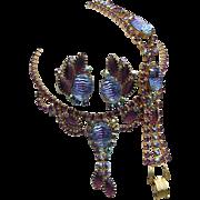 Majestic Mesmerizing 2 Tone Art Glass & Purple Rhinestones Necklace Bracelet & Earrings Parure