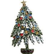 ART Frosted / Snowy Christmas Tree Pin With Rhinestone Studded Garland