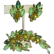 SALE JULIANA Book Piece Carved Navettes & Rhinestones Pin & Earrings