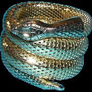 SALE Whiting & Davis 3 Coil Brilliant Gold Tone Vintage Snake Bracelet